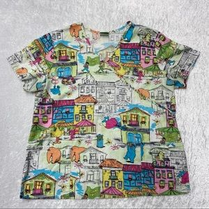 Colourful Sesame Street Uniform Scrub Top